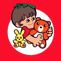 Logo firmy Hurtownia Zabawek Sidba Białystok. Uśmiechnięta dziewczynka trzymająca w rękach zabawki - brązowego misia oraz żółtego królika